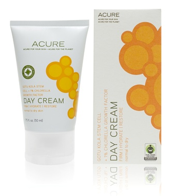 Acure Organics Day Cream Review gotu kola stem cell + chlorella growth factor