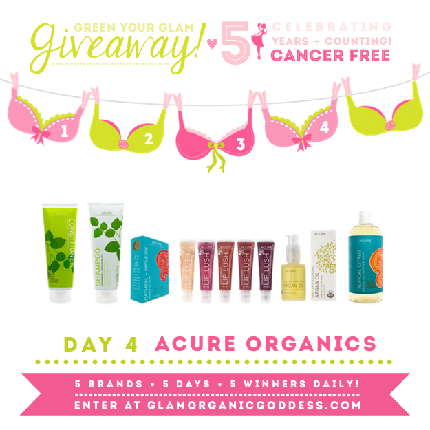 Green Your Glam Giveaway Breast Cancer Prevention Acure Organics