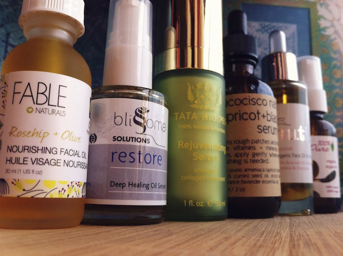 Eve Organics natural skin care - face oils lined up